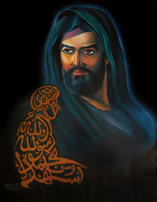 امام علی (ع) رنگ روغن روی کاغذ