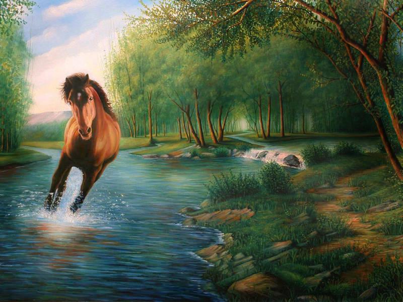 اسب  در  فضای ازیعت ارام   رنگ روغن روی بوم
